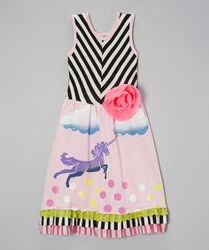 This Black & Pink Chevron Unicorn Dress - Toddler & Girls by Twirls & Twigs is perfect! #zulilyfinds