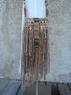 Handmade-Tan-Leather-Suede-Fringe-Bag-Hippie-Boho-Tribal-Purse-Cross-Body-tmyers