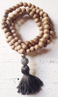 Image of Love Bead Necklace - Sandy Beach Beads with Labradorite & Steel Grey Tassel #10097
