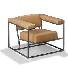 Roderick Vos Metropolis Armchair - Using a square basis, the perfect balance was sought between the seat and back, without concessions to comfort. The armchair is suitable for use in the home but is also a striking feature in public spaces. Iron Furniture, Art Deco Furniture, Steel Furniture, Modern Furniture, Furniture Design, Metal Sofa, Sofa Seats, Single Sofa, Living Room Sofa