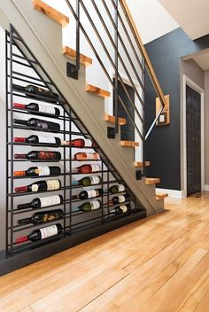 Make good use of under-stair space with this wine cellar storage idea! Make good use of under-stair space with this wine cellar storage idea! Rebrilliant Indurial Modular Under the Stairs 189 Bottle Wall Mounted WIne Rack Staircase Storage, Stair Storage, Wine Storage, Staircase Design, Storage Ideas, Modern Staircase, Storage Racks, Shelving Ideas, Grand Staircase