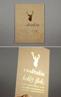 K.Flick Studio / Kohli Flick  kflickstudio.com {Chic contrast between the gold and natural cardstock}