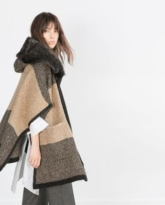 Image 3 of PONCHO WITH FAUX FUR HOOD from Zara