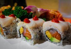 Salmon Tamago Red Snapper Avocado and White Tuna Roll[OC][2590x1797]
