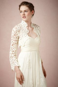"Harrison Morgan ivory Battenberg Bolero | BHLDN  // as seen on Olivia D'Amencourt, played by yael grobglas, in reign episode 1x05, ""a chill in the air."""