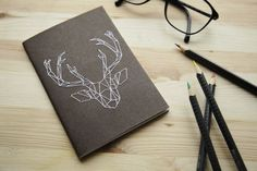 DIY Geometric Deer Notebook Embroidery