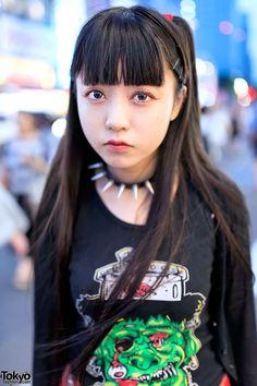 Harajuku Girl Z skalne Bangs