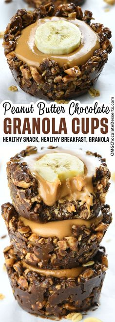 If you like to make ahead breakfast, dessert, or snacks in cup form, these Chocolate Granola Cups with Peanut Butter Filling are something you must try. Kids will love them, too. #healthy #snack #breakfast #granola #cups Delicious Breakfast Recipes, Delicious Desserts, Snack Recipes, Dessert Recipes, Easy Recipes, Cooking Recipes, Peanut Butter Filling, Best Peanut Butter, Peanut Butter Recipes