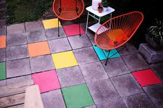 Painted Tile Patio� an easy, fun update! www.abeautifulmess.com