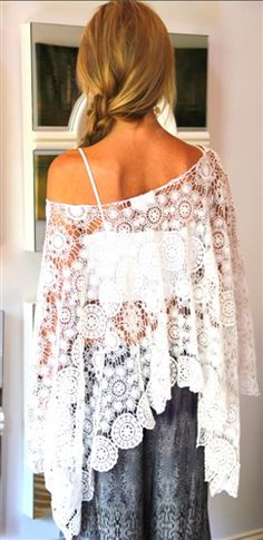 Bohemian Style Beige White Lace Crochet Hollow-out Draped Embroidery Loose CoverUp Bohemian Mode, Bohemian Style, Boho Chic, Fashion Moda, Boho Fashion, Nail Fashion, Style Fashion, White Poncho, Poncho Tops
