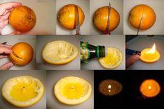 """Bougie d'hiver : couper une orange ou une clémentine en deux dans la hauteur sans entailler les fibres du milieu . (En profiter pour faire la gourmande ) , enlever les quartiers doucement en laissant les fibres au milieu du fruit . Verser un peu d'huile de cuisine ( peu importe, olive, tournesol, etc...) . Ensuite allumer la petite """" mèche"""" du milieu ."""