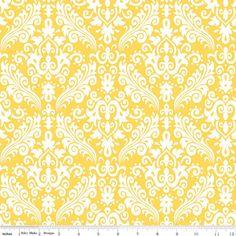 Hollywood Medium Damask  1 Yard  C83050 Yellow  by FabricFlyShop, $8.50