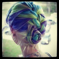 colorful braided bun