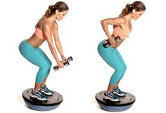 (Wedding Workout Move for a Low-Back Dress)  (Step 1) Stand on a Bosu Balance Trainer while holding a dumbbell in each hand. Carefully lean forward and bend your knees slightly, positioning the dumbbells directly in front of your knees.   (Step 2) Keeping your core tight and your legs stable, pull your elbows up and behind you as you squeeze your shoulder blades together, bringing the dumbbells toward your hips. Repeat 20 times.