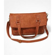 $59, Brown Studded Leather Tote Bag: Express Studded Fold Over Shoulder Bag Brown. Sold by Express. Click for more info: http://lookastic.com/women/shop_items/93167/redirect