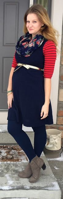 Sweet Bananie [3.6.16] navy & red striped shirt, navy blue dress, navy fleece-lined tights, taupe ankle booties, gold belt & navy floral scarf #maternitystyle