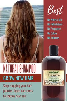 Grow New Hair Shampoo / Focus on your scalp and follicles for faster hair growth. Maybe you have hair loss, thin or thinning hair,perhaps you can see your scalp in some areas, bald spots or your hair is falling due to breakage or other factors. These types of hair loss and thinning conditions can be caused by any number of issues which may include the damage done by use of chemical hair products, hormonal changes, DHT build up, stress, how you style your hair, and nutrition.