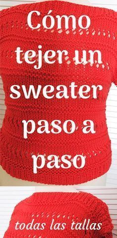 Teje un jersey/suéter fácil/rápido en dos agujas Easy Knitting, Knitting Stitches, Knitting Patterns, Crochet Woman, Knit Crochet, Crochet Hats, Learn How To Knit, Crochet Videos, Knit Fashion