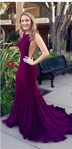 Mermaid Bodycon Royal Sexy Backless Purple Prom Dresses 2016 Burgundy Long Evening Dress from SheDress