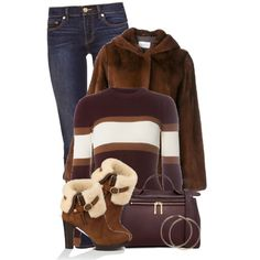 Scarlett Boot by colierollers on Polyvore featuring Dorothy Perkins, Yves Salomon, Tory Burch, UGG Australia and Karen Walker