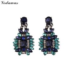 Vedawas Crystal Rhinestone Beads Multicolor Long Dangle Earrings Fashion Jewelry For Women Drop Earrings Wedding Wholesale 2305