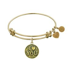 Antique  Stipple Finish Brass I<3 You Angelica Bangle, 7.25 Inches Adjustable