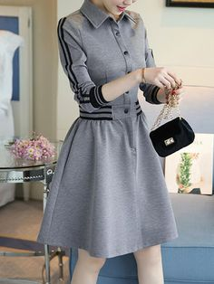 Shirt Collar Women Gray Dress A-line Daily Casual Plain Dress Cheap Maxi Dresses, Casual Dresses, Skater Dresses, Latest Fashion Clothes, Fashion Dresses, Plain Dress, Chiffon Maxi Dress, Chiffon Saree, Classy Outfits