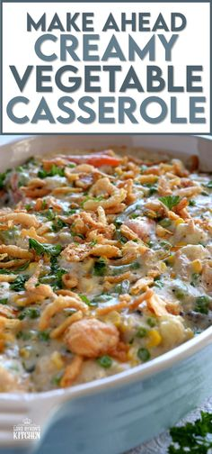 A make ahead casserole consisting of vegetables and a creamy sauce - served as a side or a main, this casserole will most certainly get vegetables onto your table and into the bellies of your loved ones. This dish can easily be reheated without loosing any of the creaminess, cheesiness, or texture! #casserole #vegetarian #makeahead #thanksgiving