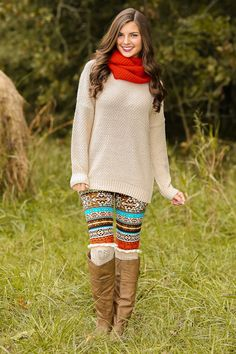 Warmth Of My Heart Sweater-Oatmeal - Tops   The Red Dress Boutique