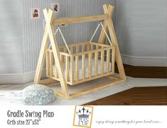 Excited to share the latest addition to my shop: Cradle Swing Plan, Wooden Swing for Baby, DIY Plan for outdoor or indoor swing, wooden cradle, . Wooden Baby Swing, Baby Cradle Wooden, Baby Cradle Plans, Baby Cradle Swing, Wooden Swings, Barbie Furniture, Dollhouse Furniture, Kids Furniture, Bedroom Furniture