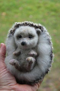 felted Hedgehog soft sculpture-felted wild by DaliaNerijusFelt