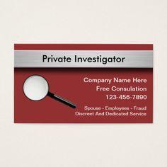 Private Investigator Business Cards Visit Carte De Visite
