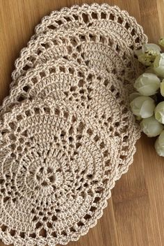 Handmade table decoration in rustic style # crochet . Crochet Coaster Pattern, Crochet Doily Patterns, Crochet Motif, Crochet Designs, Crochet Doilies, Crochet Stitches, Free Crochet, Knit Crochet, Crochet Round
