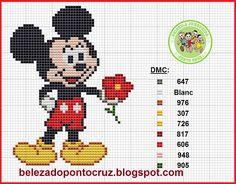 Mickey Mouse x-stitch Small Cross Stitch, Cross Stitch Heart, Cute Cross Stitch, Cross Stitch Kits, Counted Cross Stitch Patterns, Mickey Mouse Blanket, Mickey E Minnie Mouse, Mickey Mouse And Friends, Walt Disney
