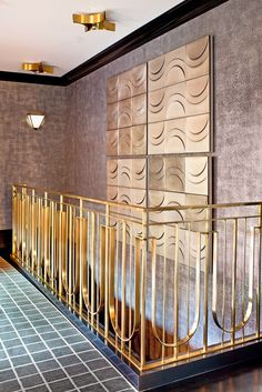 A motif that runs throughout the collections is repetition. Stripes, perforation, organic shapes, and geometric patterns carry a predictability and natural symmetry that make the overall designs balanced—even when covering a substantial surface area. A complicated stair railing can be dramatic and evocative; the repetition adds harmony and texture to this space.