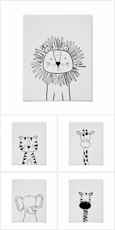 Monochrome animals Monochrome animal illustrations for your nursery decor Baby Room Art, Nursery Art, Nursery Decor, Art Wall Kids, Art For Kids, Scandinavian Nursery, Animal Doodles, Art Drawings For Kids, Simple Doodles