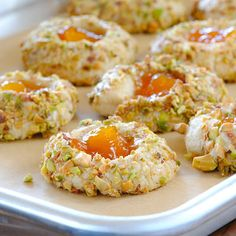 Middle-Eastern inspired Apricot Cardamom Thumbprints with Pistachio  and crushed Rose Petals