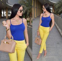 Laura Badura - Zara Vest, Zara Pants, Ted Baker Bag, Kurt Geiger Heels - Blue Meets Yellow