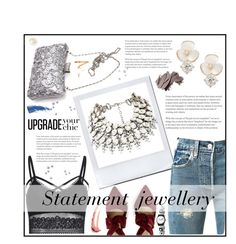 """Statement Jewellery for NYE"" by anamya on Polyvore featuring Levi's, Kate Spade, Eyeko, Bobbi Brown Cosmetics, Ellis Faas, Swatch, jeans, statement, pearljewelry and StealMyLook"