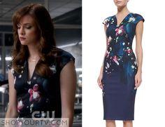 The Flash: Season 2 episode 4 Caitlin's navy floral dress |