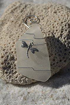 Free form Frosted White Sea Glass Ornament with a Dragon Fly