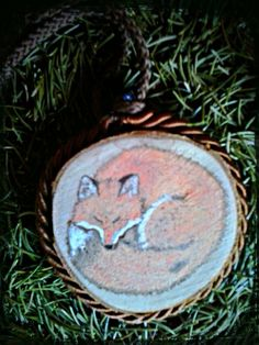 Sleeping Fox painted Woodburning by VoceDelBosco on DeviantArt