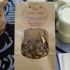 Raw Nibbles Spicy Sunflower & Pumpkin Seeds.   A mixture of sunflower and pumpkin seeds with a mix flavours and spices – great to nibble on or to add to a salad or as a soup topping. Free-from dairy, wheat, gluten and sugar. Suitable for vegetarians and vegans.