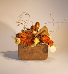 Dried arrangement-flat protea,straw flowers, ting-ting, and burlap