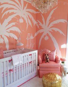 somon rengi bebek odasi palmiye desenli duvar