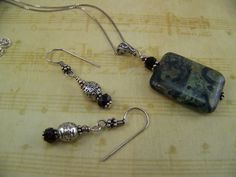 Kambaba Jasper Garnet Crystal Necklace and by CreatedinTheWoods, $27.95