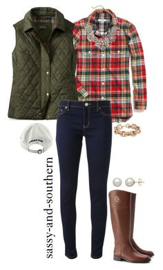 """fall outfit"" by sassy-and-southern ❤ liked on Polyvore featuring Madewell, Michael Kors, Tory Burch, J.Crew, Vineyard Vines and Honora"