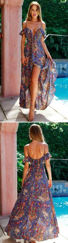 Women's Bohemian V Neck Ruffle High Slit Maxi Beach Dress