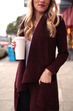 """A more """"flowy"""" Cranberry cardigan for fall"""