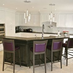 Here is a kitchen I just finished what do you think of the custom purple barstools? #kitchen #interiordesign #hgtv #design #interiordesigner #estherextraordinaire #white